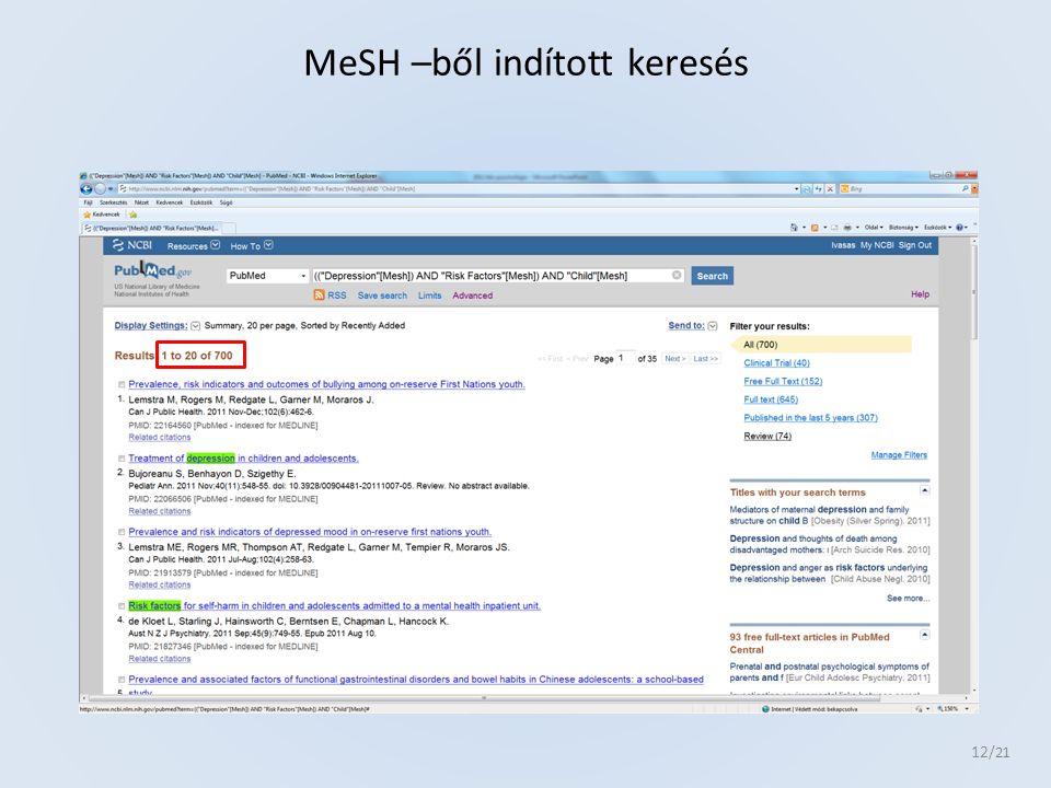 12 /21 MeSH –ből indított keresés