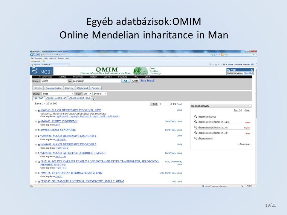 Egyéb adatbázisok:OMIM Online Mendelian inharitance in Man 19 /21