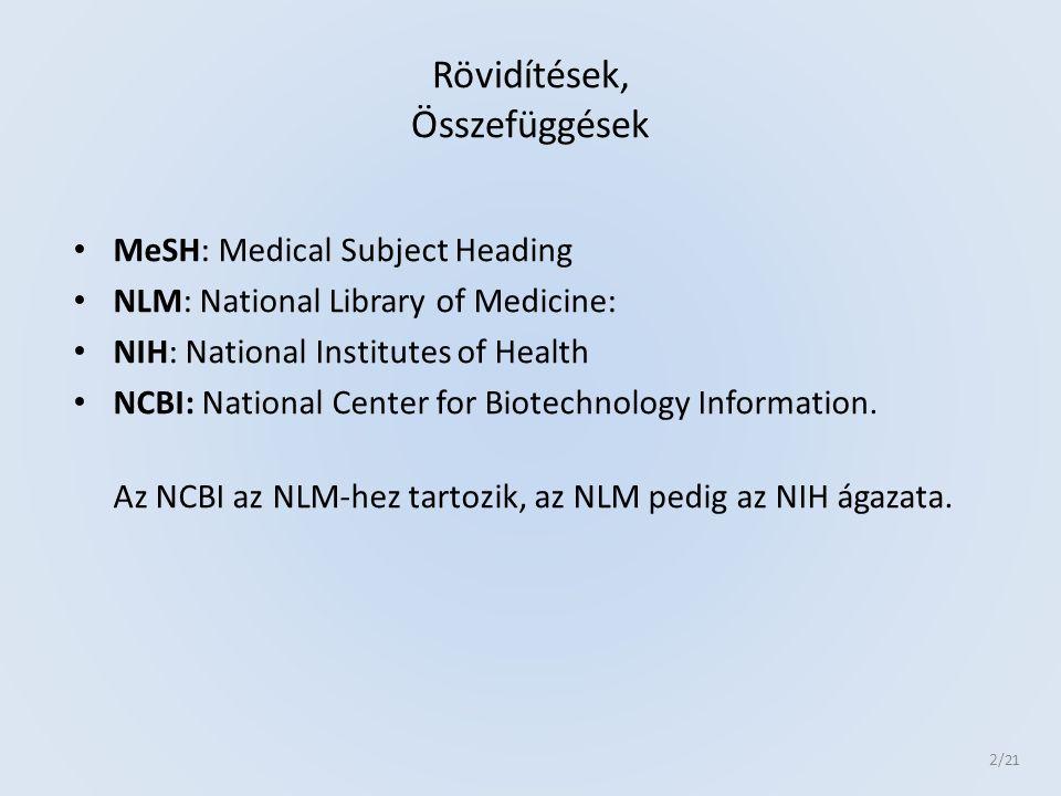 National Library of Medicine NLM MEDLINE Több, mint 21 Millió rekord 5000 féle orvosi folyóirat, + 90 féle fogorvostudomány 187 féle ápolástan 106 féle egészségügyi ellátás 85 féle egészségügyi ellátás technológia 105 féle orvostörténet Témájú folyóirat kerül indexelésre 3 /21
