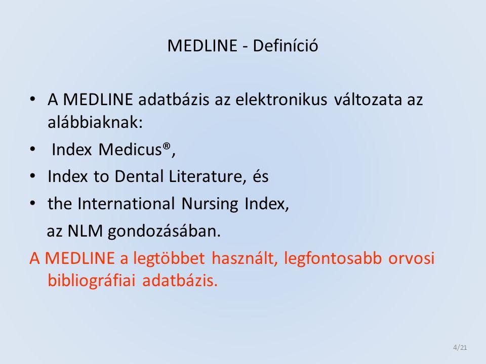 A MEDLINE témakörei amik kb.