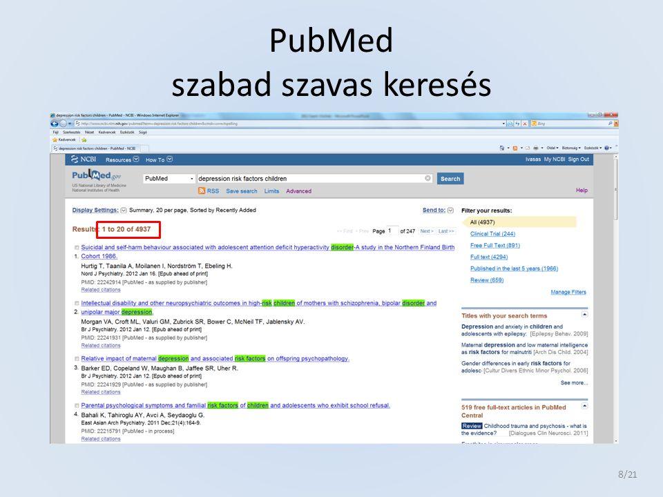 PubMed szabad szavas keresés 8 /21