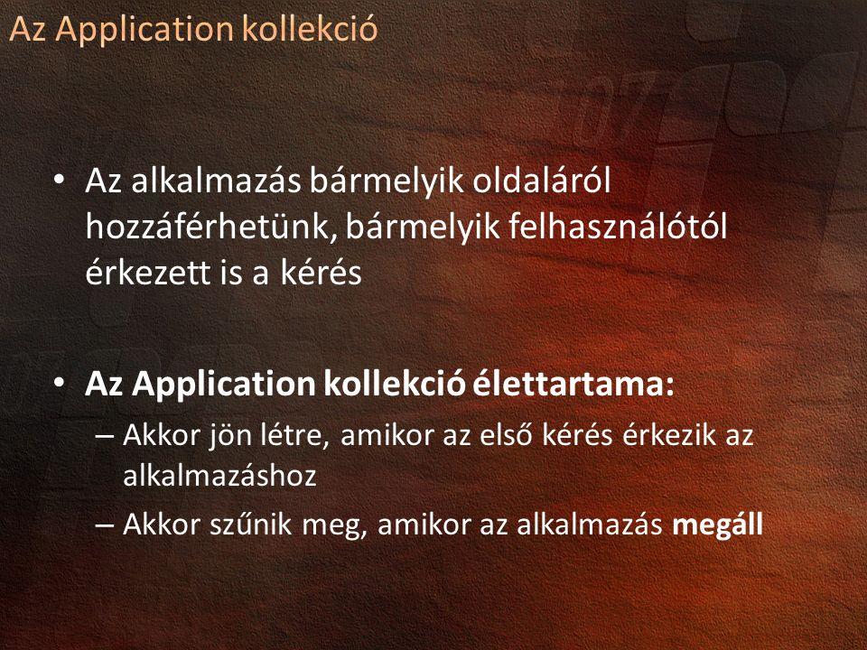 Az alkalmazás bármelyik oldaláról hozzáférhetünk, bármelyik felhasználótól érkezett is a kérés Az Application kollekció élettartama: – Akkor jön létre