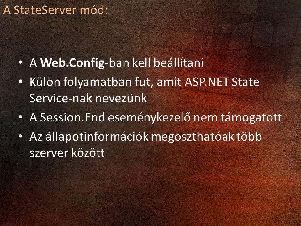 A Web.Config-ban kell beállítani Külön folyamatban fut, amit ASP.NET State Service-nak nevezünk A Session.End eseménykezelő nem támogatott Az állapotinformációk megoszthatóak több szerver között