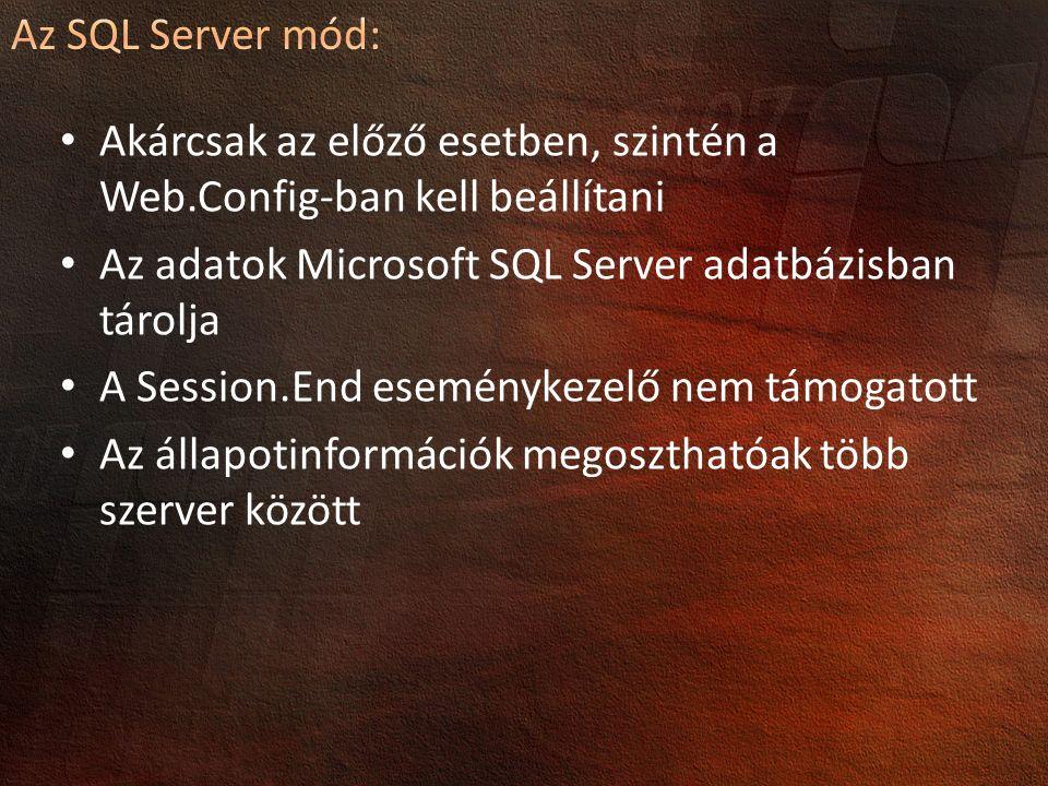 Akárcsak az előző esetben, szintén a Web.Config-ban kell beállítani Az adatok Microsoft SQL Server adatbázisban tárolja A Session.End eseménykezelő ne