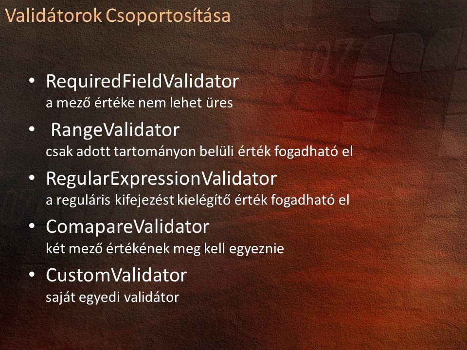 RequiredFieldValidator a mező értéke nem lehet üres RangeValidator csak adott tartományon belüli érték fogadható el RegularExpressionValidator a reguláris kifejezést kielégítő érték fogadható el ComapareValidator két mező értékének meg kell egyeznie CustomValidator saját egyedi validátor
