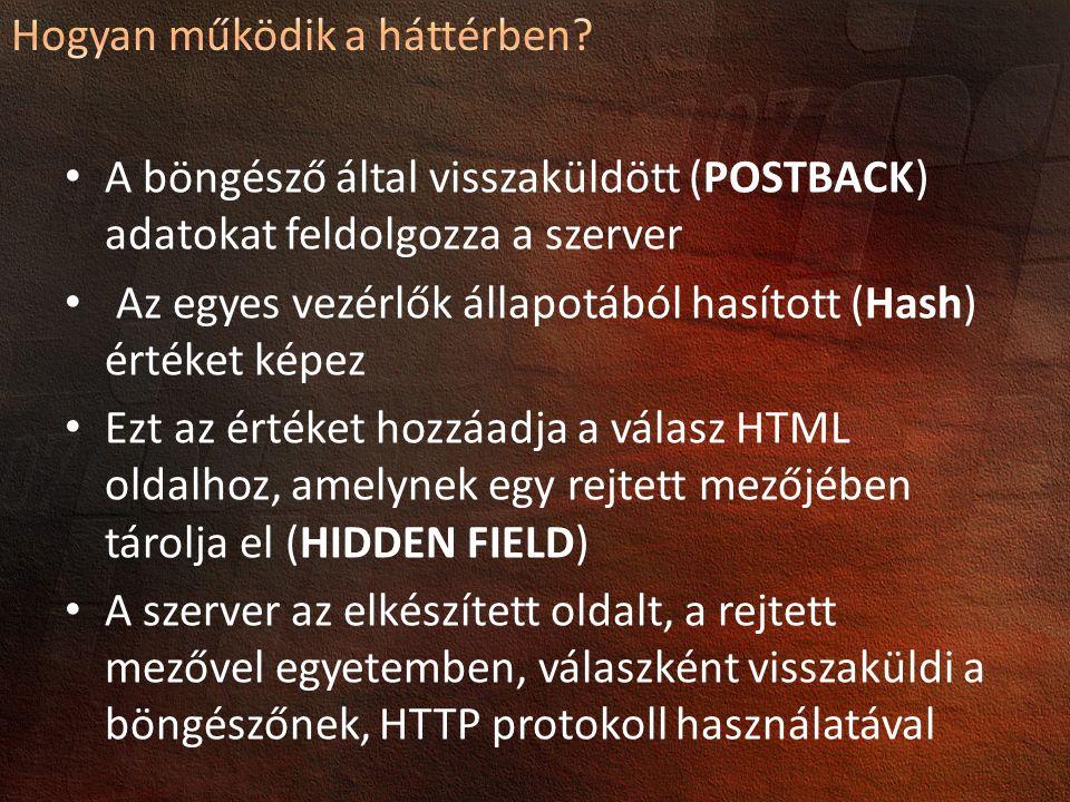 A böngésző által visszaküldött (POSTBACK) adatokat feldolgozza a szerver Az egyes vezérlők állapotából hasított (Hash) értéket képez Ezt az értéket hozzáadja a válasz HTML oldalhoz, amelynek egy rejtett mezőjében tárolja el (HIDDEN FIELD) A szerver az elkészített oldalt, a rejtett mezővel egyetemben, válaszként visszaküldi a böngészőnek, HTTP protokoll használatával