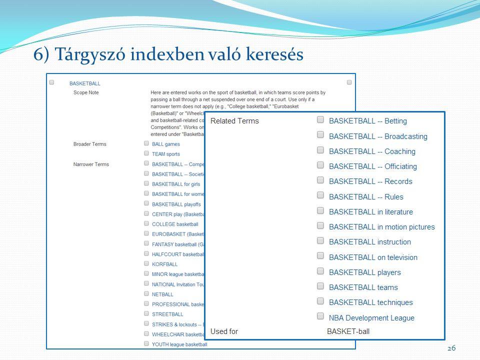 26 6) Tárgyszó indexben való keresés