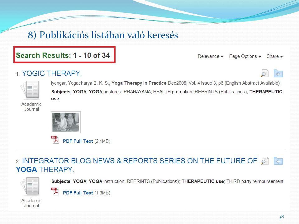38 8) Publikációs listában való keresés