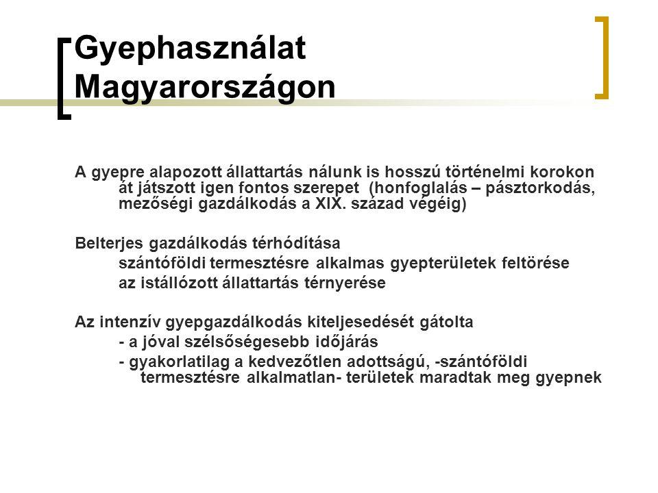 Gyephasználat Magyarországon A gyepre alapozott állattartás nálunk is hosszú történelmi korokon át játszott igen fontos szerepet (honfoglalás – pásztorkodás, mezőségi gazdálkodás a XIX.