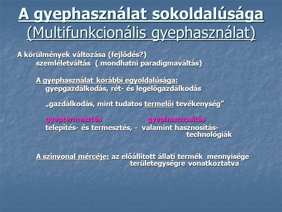 A gyephasználat sokoldalúsága (Multifunkcionális gyephasználat) A körülmények változása (fejlődés?) szemléletváltás ( mondhatni paradigmaváltás) A gye