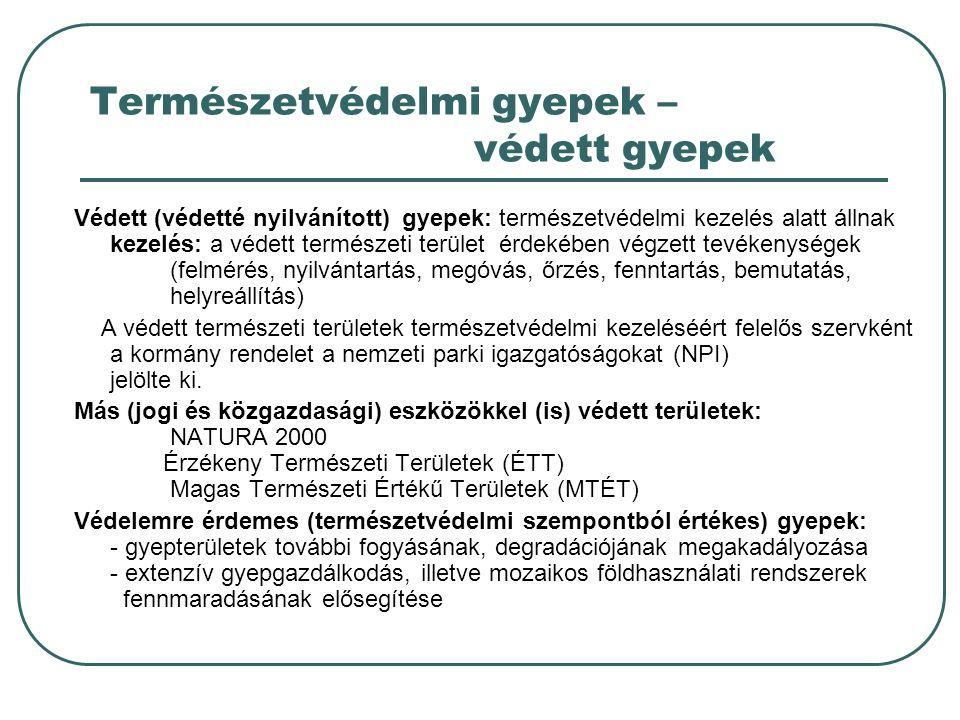 Természetvédelmi gyepek – védett gyepek Védett (védetté nyilvánított) gyepek: természetvédelmi kezelés alatt állnak kezelés: a védett természeti terület érdekében végzett tevékenységek (felmérés, nyilvántartás, megóvás, őrzés, fenntartás, bemutatás, helyreállítás) A védett természeti területek természetvédelmi kezeléséért felelős szervként a kormány rendelet a nemzeti parki igazgatóságokat (NPI) jelölte ki.
