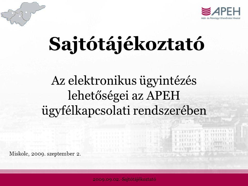 2009.09.02.-Sajtótájékoztató Sajtótájékoztató Az elektronikus ügyintézés lehetőségei az APEH ügyfélkapcsolati rendszerében Miskolc, 2009.