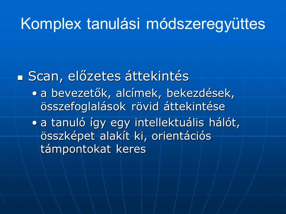 Komplex tanulási módszeregyüttes Scan, előzetes áttekintés Scan, előzetes áttekintés a bevezetők, alcímek, bekezdések, összefoglalások rövid áttekintésea bevezetők, alcímek, bekezdések, összefoglalások rövid áttekintése a tanuló így egy intellektuális hálót, összképet alakít ki, orientációs támpontokat keresa tanuló így egy intellektuális hálót, összképet alakít ki, orientációs támpontokat keres