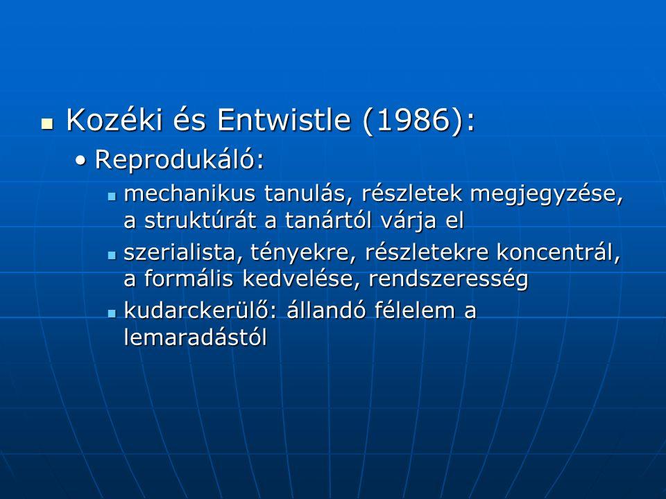Kozéki és Entwistle (1986): Kozéki és Entwistle (1986): Reprodukáló:Reprodukáló: mechanikus tanulás, részletek megjegyzése, a struktúrát a tanártól várja el mechanikus tanulás, részletek megjegyzése, a struktúrát a tanártól várja el szerialista, tényekre, részletekre koncentrál, a formális kedvelése, rendszeresség szerialista, tényekre, részletekre koncentrál, a formális kedvelése, rendszeresség kudarckerülő: állandó félelem a lemaradástól kudarckerülő: állandó félelem a lemaradástól