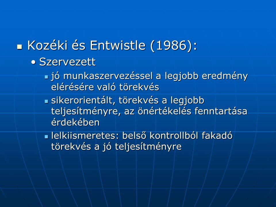 Kozéki és Entwistle (1986): Kozéki és Entwistle (1986): SzervezettSzervezett jó munkaszervezéssel a legjobb eredmény elérésére való törekvés jó munkaszervezéssel a legjobb eredmény elérésére való törekvés sikerorientált, törekvés a legjobb teljesítményre, az önértékelés fenntartása érdekében sikerorientált, törekvés a legjobb teljesítményre, az önértékelés fenntartása érdekében lelkiismeretes: belső kontrollból fakadó törekvés a jó teljesítményre lelkiismeretes: belső kontrollból fakadó törekvés a jó teljesítményre
