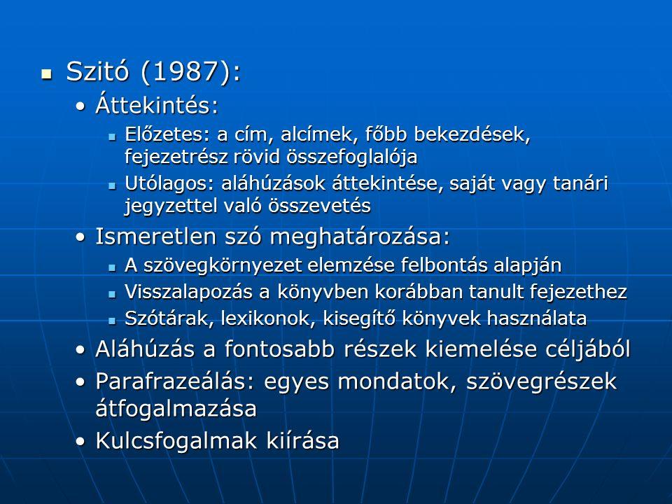 Szitó (1987): Szitó (1987): Áttekintés:Áttekintés: Előzetes: a cím, alcímek, főbb bekezdések, fejezetrész rövid összefoglalója Előzetes: a cím, alcímek, főbb bekezdések, fejezetrész rövid összefoglalója Utólagos: aláhúzások áttekintése, saját vagy tanári jegyzettel való összevetés Utólagos: aláhúzások áttekintése, saját vagy tanári jegyzettel való összevetés Ismeretlen szó meghatározása:Ismeretlen szó meghatározása: A szövegkörnyezet elemzése felbontás alapján A szövegkörnyezet elemzése felbontás alapján Visszalapozás a könyvben korábban tanult fejezethez Visszalapozás a könyvben korábban tanult fejezethez Szótárak, lexikonok, kisegítő könyvek használata Szótárak, lexikonok, kisegítő könyvek használata Aláhúzás a fontosabb részek kiemelése céljábólAláhúzás a fontosabb részek kiemelése céljából Parafrazeálás: egyes mondatok, szövegrészek átfogalmazásaParafrazeálás: egyes mondatok, szövegrészek átfogalmazása Kulcsfogalmak kiírásaKulcsfogalmak kiírása