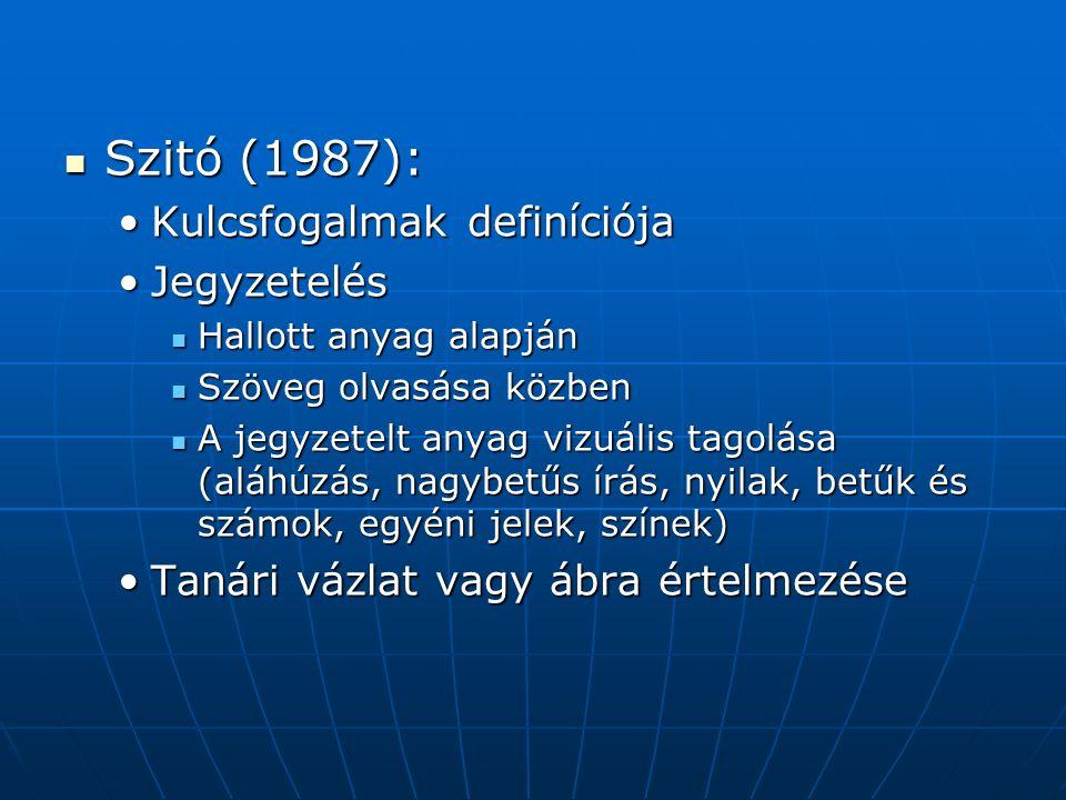 Szitó (1987): Szitó (1987): Kulcsfogalmak definíciójaKulcsfogalmak definíciója JegyzetelésJegyzetelés Hallott anyag alapján Hallott anyag alapján Szöveg olvasása közben Szöveg olvasása közben A jegyzetelt anyag vizuális tagolása (aláhúzás, nagybetűs írás, nyilak, betűk és számok, egyéni jelek, színek) A jegyzetelt anyag vizuális tagolása (aláhúzás, nagybetűs írás, nyilak, betűk és számok, egyéni jelek, színek) Tanári vázlat vagy ábra értelmezéseTanári vázlat vagy ábra értelmezése