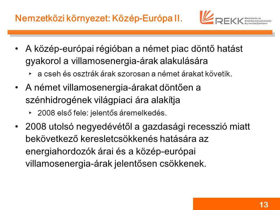 13 Nemzetközi környezet: Közép-Európa II. A közép-európai régióban a német piac döntő hatást gyakorol a villamosenergia-árak alakulására ‣a cseh és os