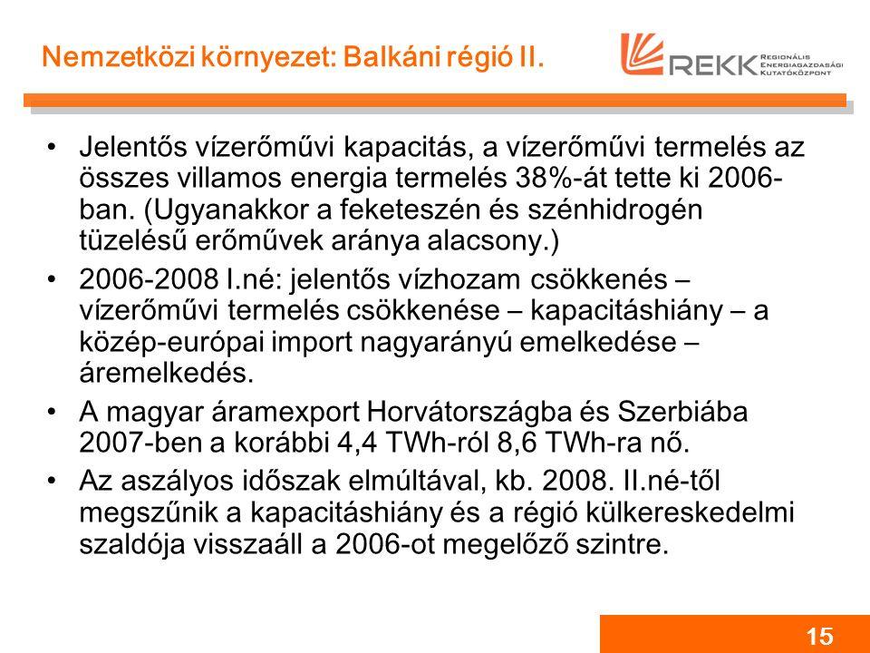 15 Nemzetközi környezet: Balkáni régió II. Jelentős vízerőművi kapacitás, a vízerőművi termelés az összes villamos energia termelés 38%-át tette ki 20