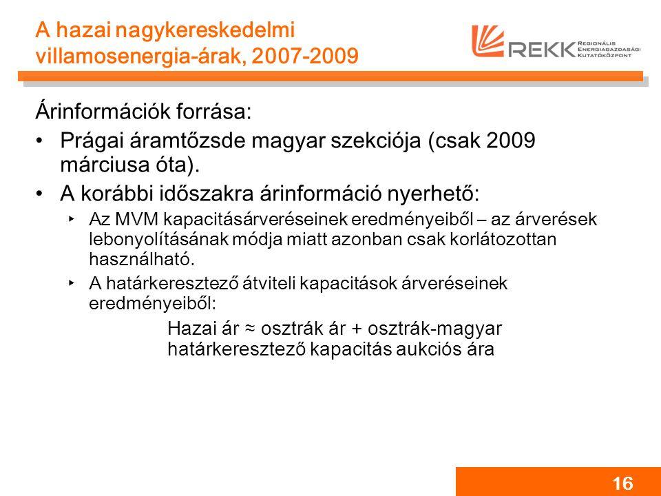 16 A hazai nagykereskedelmi villamosenergia-árak, 2007-2009 Árinformációk forrása: Prágai áramtőzsde magyar szekciója (csak 2009 márciusa óta). A korá