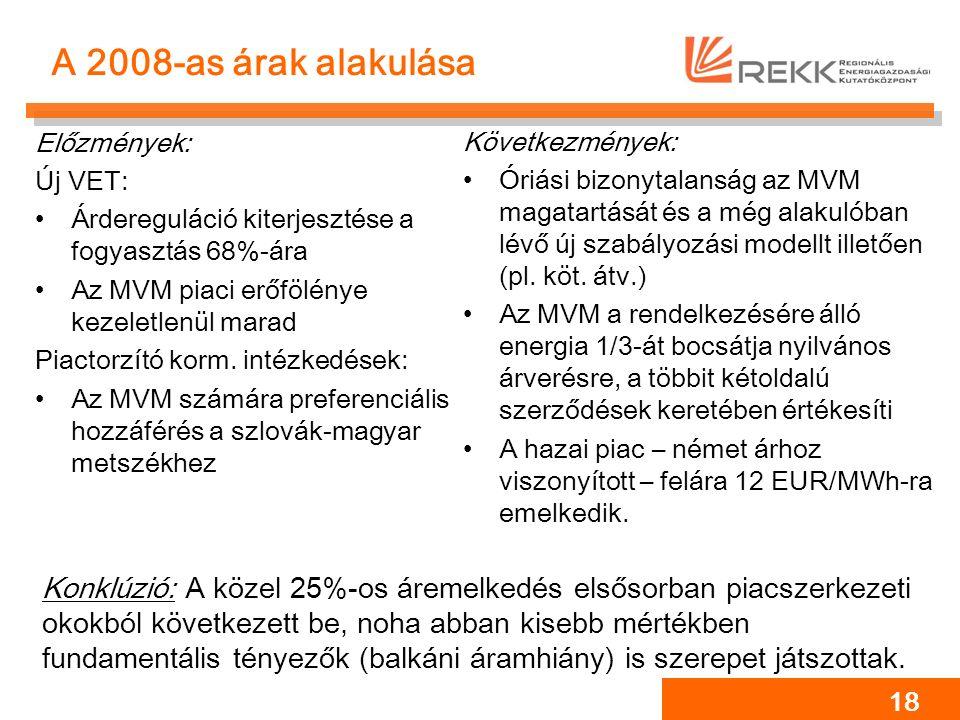 18 A 2008-as árak alakulása Előzmények: Új VET: Árdereguláció kiterjesztése a fogyasztás 68%-ára Az MVM piaci erőfölénye kezeletlenül marad Piactorzít