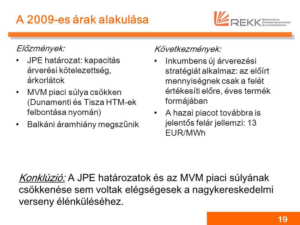 19 A 2009-es árak alakulása Előzmények: JPE határozat: kapacitás árverési kötelezettség, árkorlátok MVM piaci súlya csökken (Dunamenti és Tisza HTM-ek