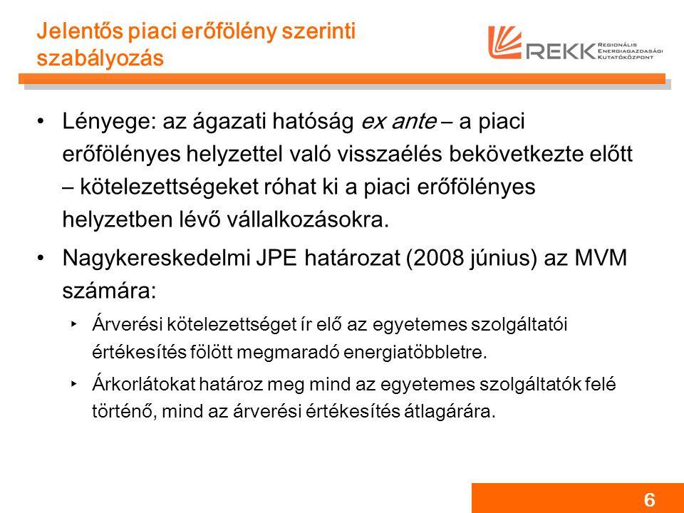 27 A 2008-as áremelkedés lehetséges okai Kötelező átvételi rendszer változásai Magyar nagykereskedelmi árak emelkedése Piacbővülés összetételhatása ‣Eltérő (drágább) profilú fogyasztók ‣Költségesebb menetrend-kiegyenlítés Fogyasztói viselkedés ‣Tájékozatlanság ‣Tranzakciós költségek Jogalkotói és szabályozói hibák ‣Bizonytalan környezet ~20-25% ~30-35% ~40-50%
