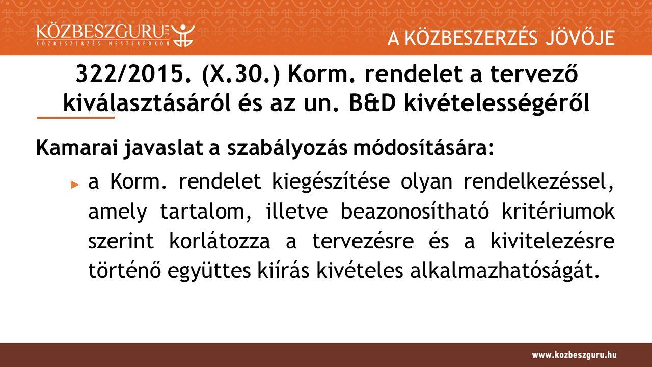 A KÖZBESZERZÉS JÖVŐJE 322/2015. (X.30.) Korm. rendelet a tervező kiválasztásáról és az un.