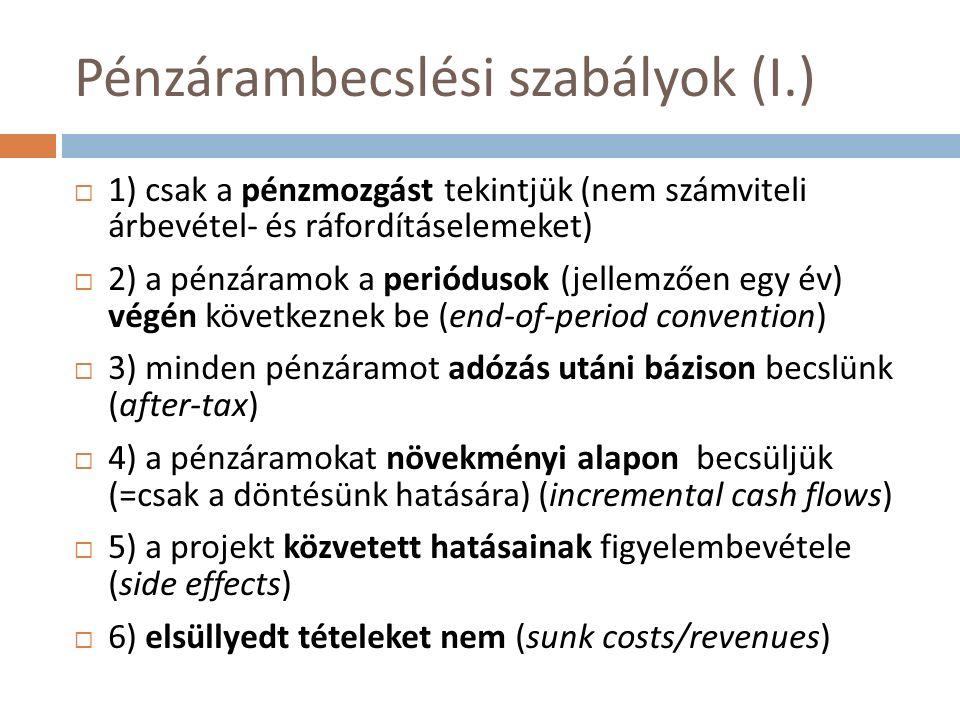 Pénzárambecslési szabályok (II.)  7) alternatíva költségek figyelembevétele (pl.