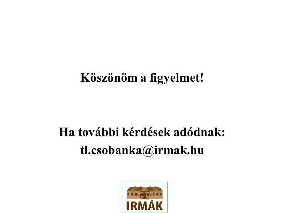 Köszönöm a figyelmet! Ha további kérdések adódnak: tl.csobanka@irmak.hu