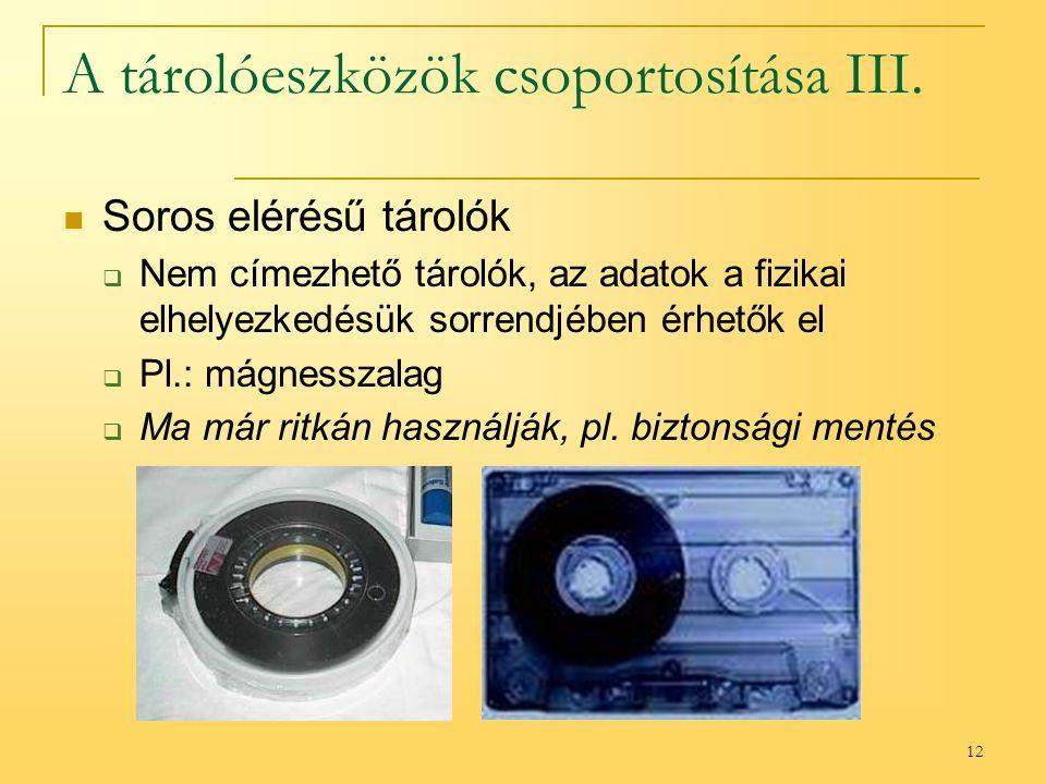 12 A tárolóeszközök csoportosítása III.