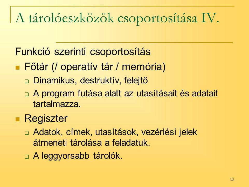13 A tárolóeszközök csoportosítása IV.
