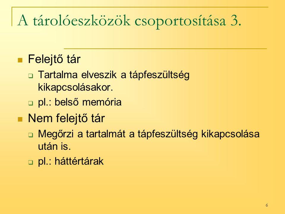 6 A tárolóeszközök csoportosítása 3.