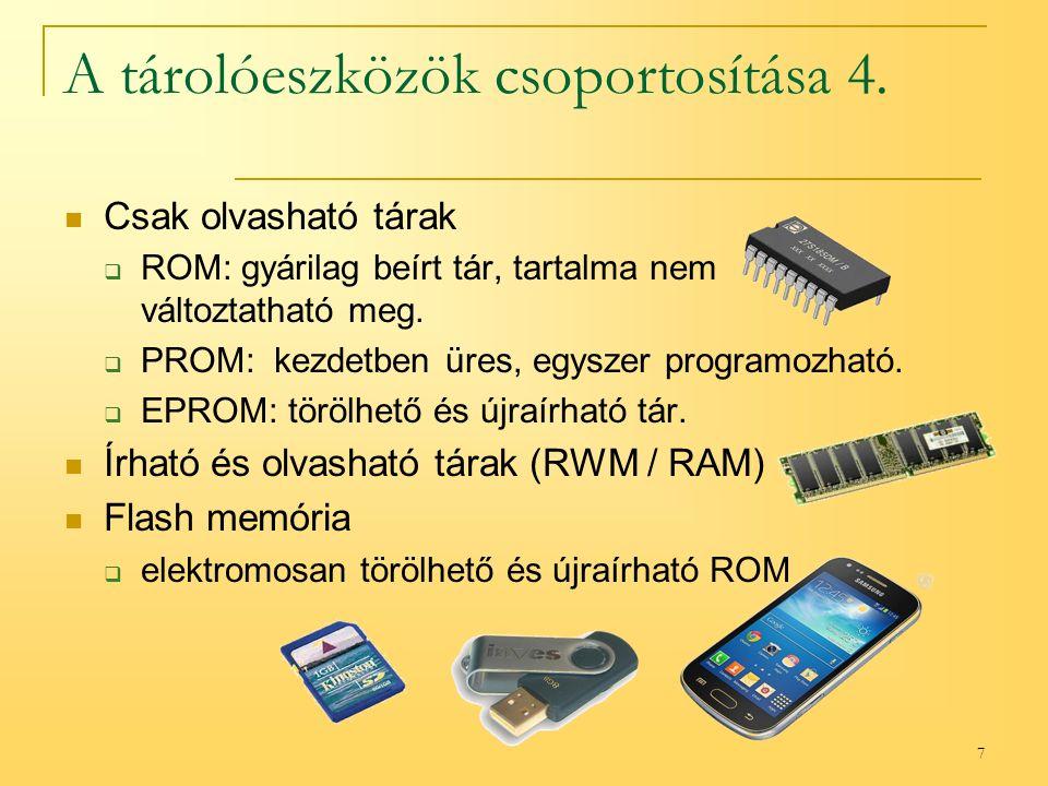 7 A tárolóeszközök csoportosítása 4.