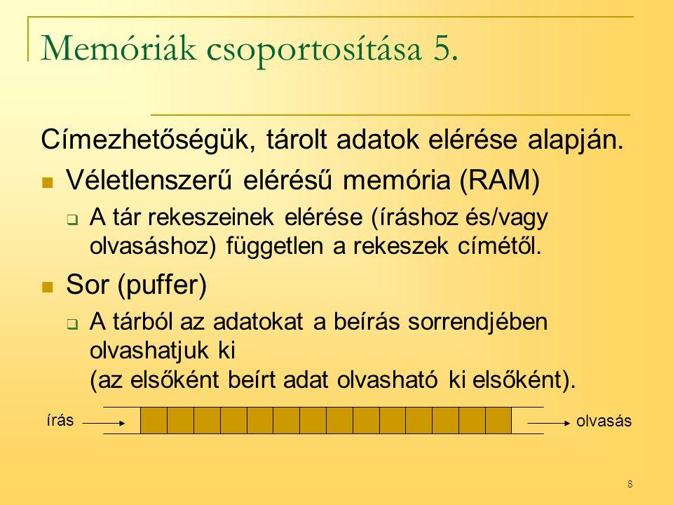 8 Memóriák csoportosítása 5.Címezhetőségük, tárolt adatok elérése alapján.