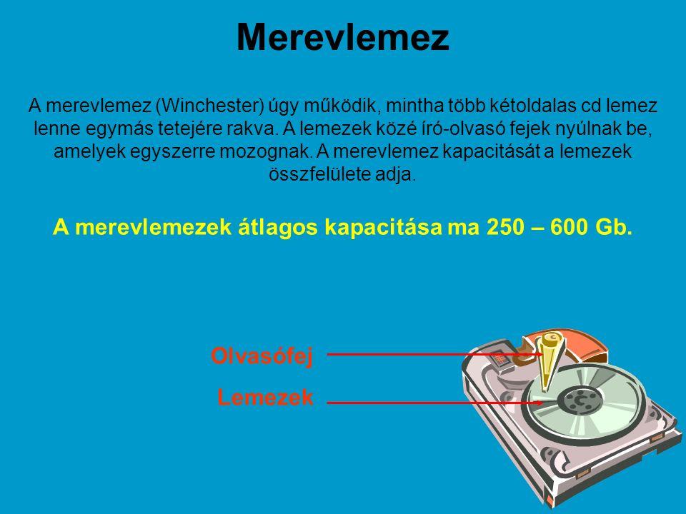 Merevlemez A merevlemez (Winchester) úgy működik, mintha több kétoldalas cd lemez lenne egymás tetejére rakva.