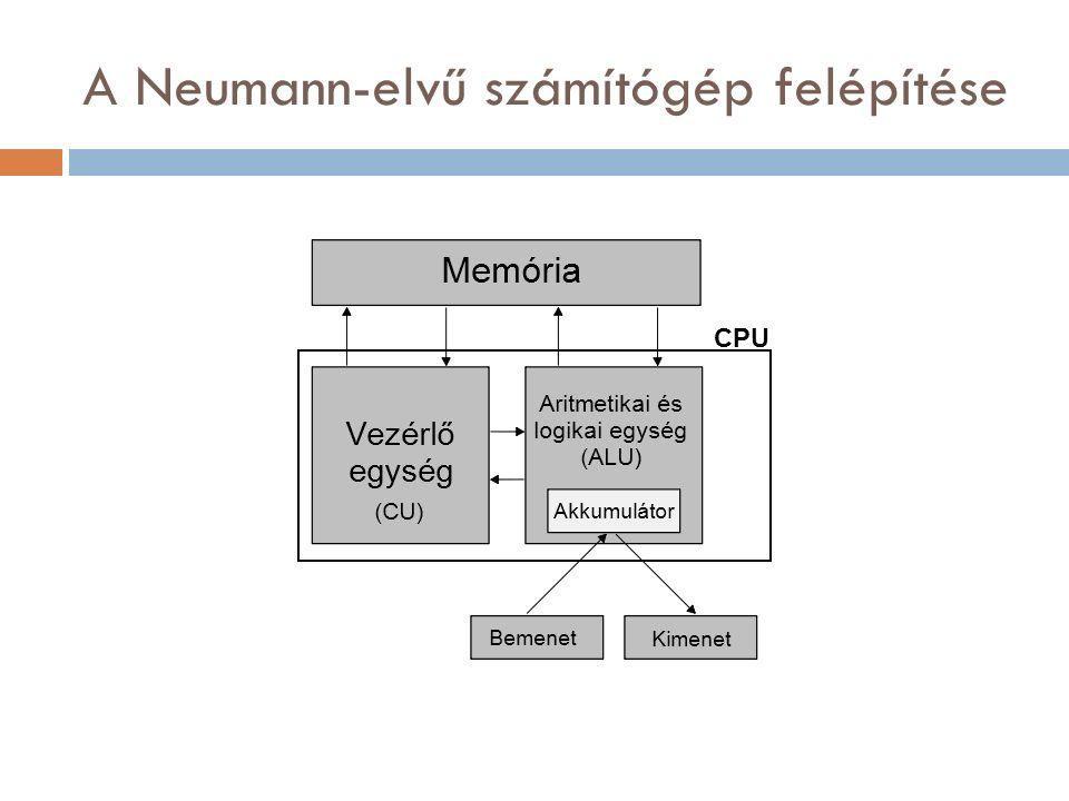 A Neumann-elvű számítógép felépítése CPU