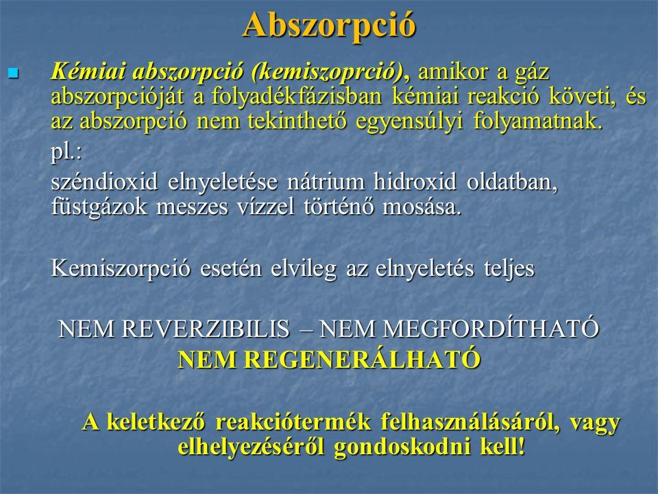 Abszorpció Kémiai abszorpció (kemiszoprció), amikor a gáz abszorpcióját a folyadékfázisban kémiai reakció követi, és az abszorpció nem tekinthető egye