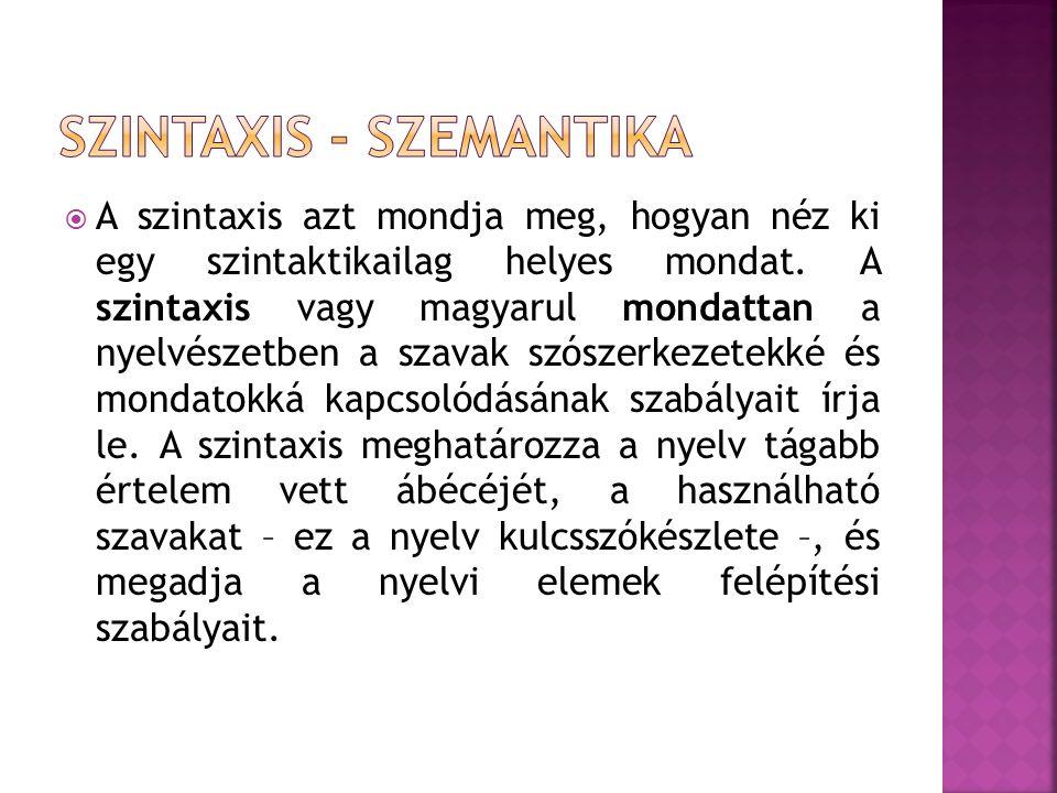  A szintaxis azt mondja meg, hogyan néz ki egy szintaktikailag helyes mondat. A szintaxis vagy magyarul mondattan a nyelvészetben a szavak szószerkez