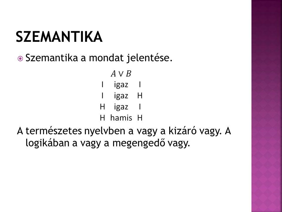  Szemantika a mondat jelentése. A természetes nyelvben a vagy a kizáró vagy. A logikában a vagy a megengedő vagy.