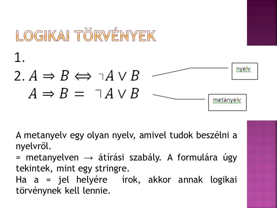 A metanyelv egy olyan nyelv, amivel tudok beszélni a nyelvről. = metanyelven → átírási szabály. A formulára úgy tekintek, mint egy stringre. Ha a = je