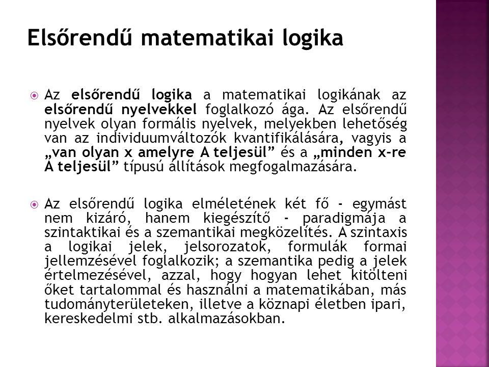  Az elsőrendű logika a matematikai logikának az elsőrendű nyelvekkel foglalkozó ága. Az elsőrendű nyelvek olyan formális nyelvek, melyekben lehetőség