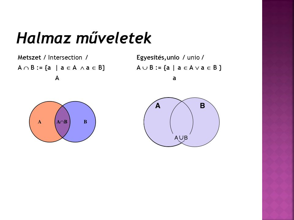 Metszet / Intersection / A  B := {a | a  A  a  B} A Egyesítés,unio / unio / A  B := {a | a  A  a  B } a