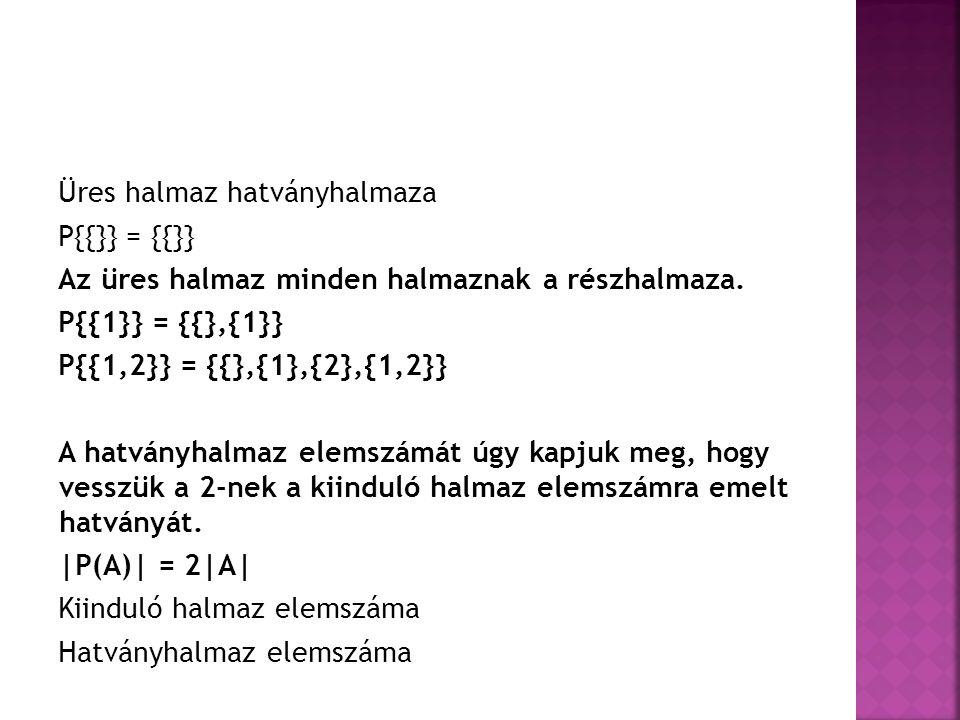 Üres halmaz hatványhalmaza P{{}} = {{}} Az üres halmaz minden halmaznak a részhalmaza. P{{1}} = {{},{1}} P{{1,2}} = {{},{1},{2},{1,2}} A hatványhalmaz