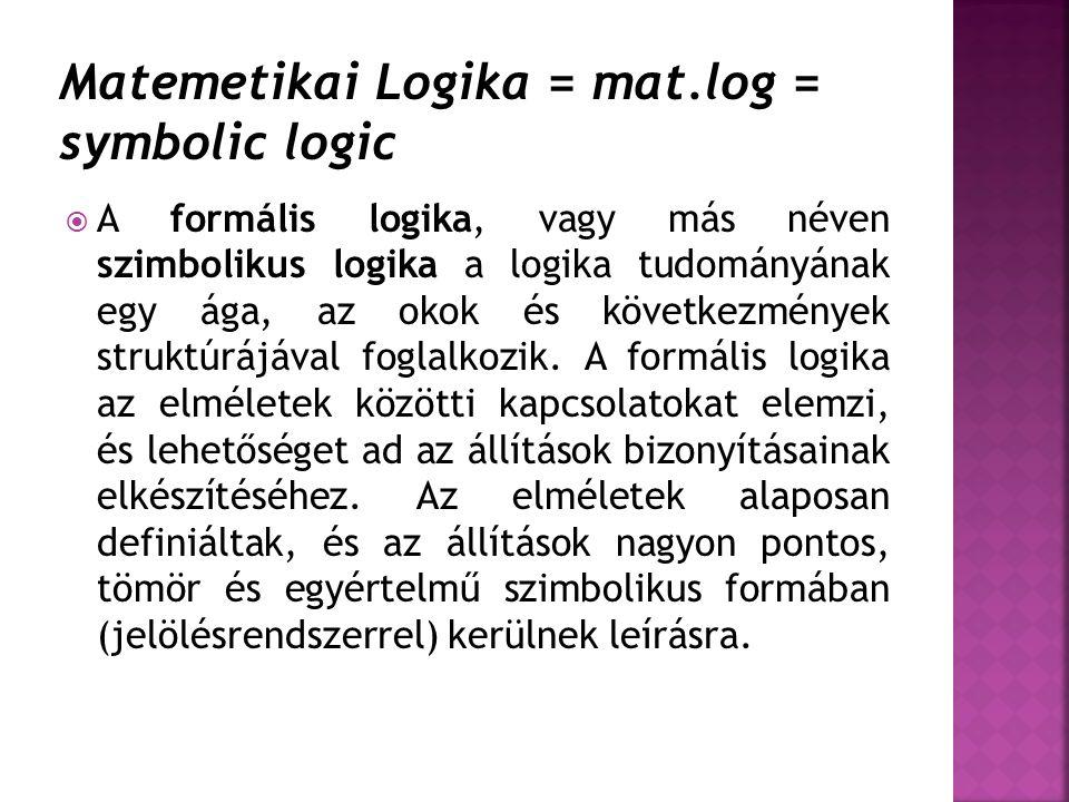  A formális logika, vagy más néven szimbolikus logika a logika tudományának egy ága, az okok és következmények struktúrájával foglalkozik. A formális