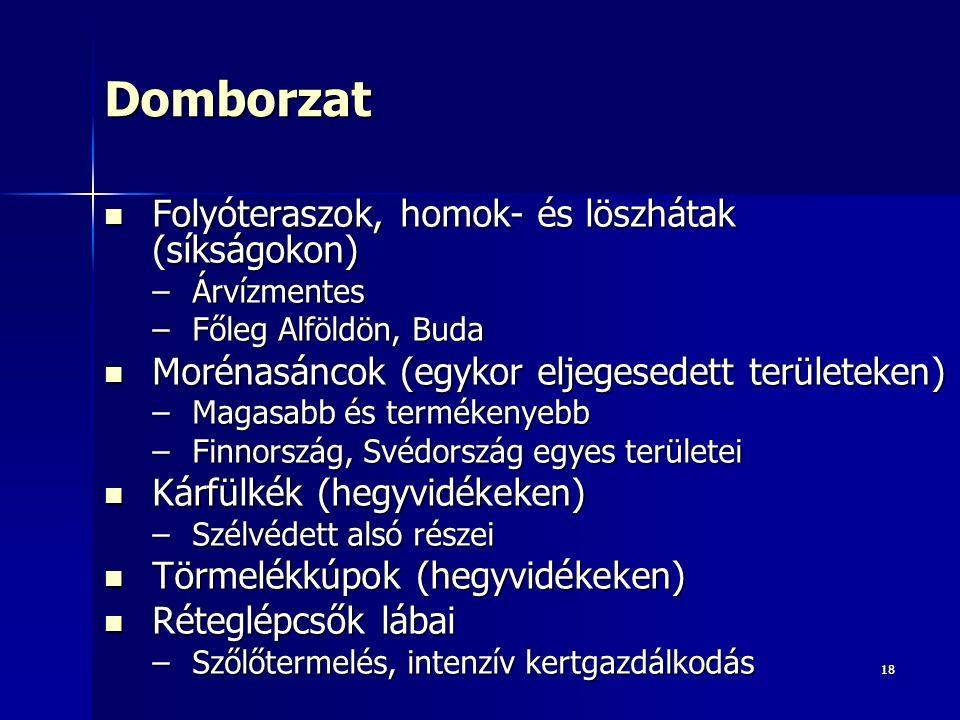 1818Domborzat Folyóteraszok, homok- és löszhátak (síkságokon) Folyóteraszok, homok- és löszhátak (síkságokon) –Árvízmentes –Főleg Alföldön, Buda Morénasáncok (egykor eljegesedett területeken) Morénasáncok (egykor eljegesedett területeken) –Magasabb és termékenyebb –Finnország, Svédország egyes területei Kárfülkék (hegyvidékeken) Kárfülkék (hegyvidékeken) –Szélvédett alsó részei Törmelékkúpok (hegyvidékeken) Törmelékkúpok (hegyvidékeken) Réteglépcsők lábai Réteglépcsők lábai –Szőlőtermelés, intenzív kertgazdálkodás
