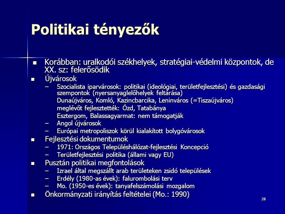 2828 Politikai tényezők Korábban: uralkodói székhelyek, stratégiai-védelmi központok, de XX.