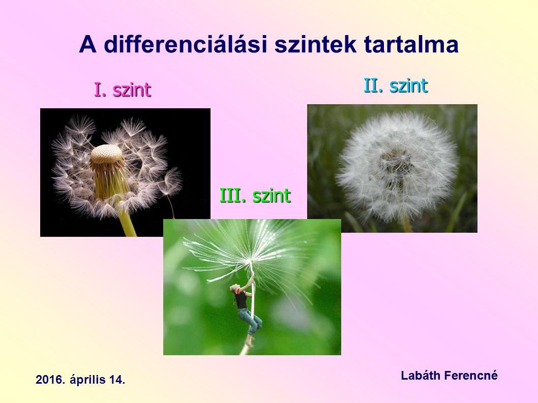 A differenciálási szintek tartalma I. szint II. szint III.