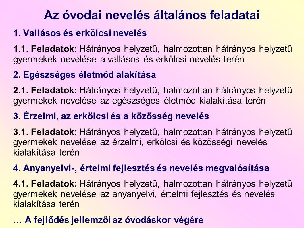 Az óvodai nevelés általános feladatai 1. Vallásos és erkölcsi nevelés 1.1.
