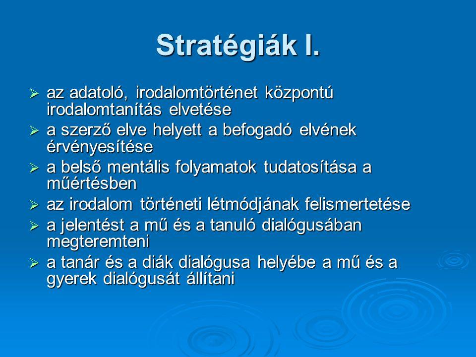Stratégiák I.  az adatoló, irodalomtörténet központú irodalomtanítás elvetése  a szerző elve helyett a befogadó elvének érvényesítése  a belső ment